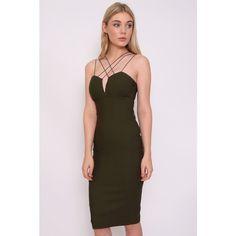 Rare London Khaki Strap Detail Bodycon Midi Dress ($64) ❤ liked on Polyvore featuring dresses, brown bodycon dress, plunge bodycon dress, brown dress, sexy bodycon dresses and bodycon cocktail dress