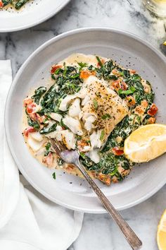 This easy Fish Florentine recipe, made with a pan seared firm white fish served on a creamy bed of spinach feels like something you would order out in a fancy restaurant! # Healthy Recipes fish Fish Florentine – The BEST Fish Recipe! Best Fish Recipes, New Recipes, Cooking Recipes, Healthy Recipes, Fancy Recipes, Healthy White Fish Recipes, Simple Fish Recipes, Slow Cooker Fish Recipes, Canned Fish Recipes