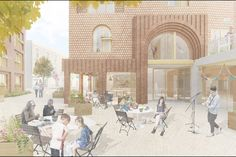 RCKa's redevelopment of Highgate Newtown Community Centre (HNCC) in north London - approved April 2017 [courtyard visual]