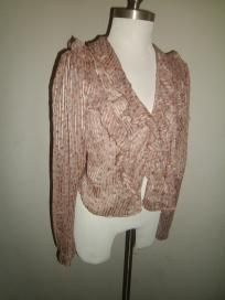 Vintage Langtry Gold Label Shirt - Small - Mauve/Peach w/orange and purple flowers - FREE SHIPPING!