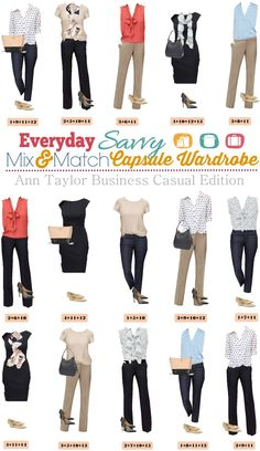 Ann Taylor Business Casual Capsule Wardrobe - Mix & Match Outfits for the Office
