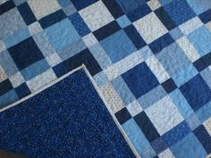 Blue and white quilt Fathers Day quilt by KeyLimeDesignByJeana