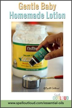 Gentle Baby essential oil lotion for newborns (and moms!) Perfect send-home gift at a baby and child EO educational class. Gentle Baby Essential Oil, Essential Oils For Babies, Organic Essential Oils, Young Living Essential Oils, Coconut Oil Lotion, Coconut Oil For Skin, Oils For Newborns, Lotion Recipe, Baby Lotion