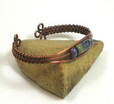 wire woven bangle bracelets | lampwork copper wire cuff woven wire bracelet