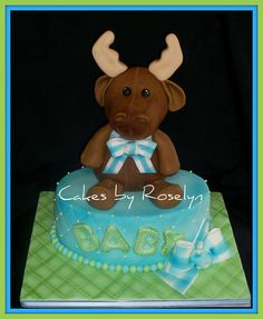 cake for a baby shower with a moose theme all of the centerpieces were diaper cakes with stuffed moose in them. this cake seemed so bare to me. the moose is rkt. Baby Shower Desserts, Baby Shower Cakes, Moose Baby Shower, Moose Nursery, Birthday Cake, Birthday Ideas, Cakes And More, Themed Cakes, Icing