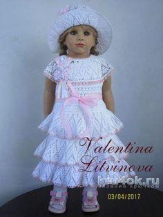 Вязаное платье для девочки. Работа Валентины Литвиновой. Вязание крючком.