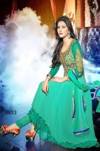 cb82c625863 Khantil Floor Touch Embroidery And Handwork Cyan Semi Stitched Anarkali Suit
