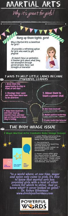 Believe it or not, more than 50% of my martial arts school is made up of girls! There are so many great benefits to martial arts training. Check out this cool info-graphic that talks about all the awesomeness of it.