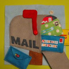 mailbox with envelopes felt children's quiet book page idea