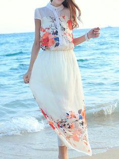 Beige Floral Chiffon Maxi Dress - Fashion Clothing, Latest Street Fashion At Abaday.com