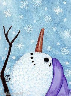 #Snowman Watercolor #Painting Winter #Snowflakes Lavender Original ACEO ART Goeben