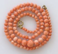 Victorian Vtg Natural Salmon Carved Coral Bead Necklace Graduated Antique