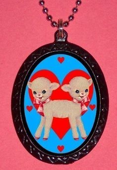 Baby Lamb Kawaii Siamese Twins Freakshow Super Cuteness with Hearts Pendant Handpainted Black with silvertone ballchain necklace