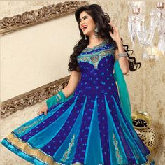 Dark #Blue Faux Georgette and Net #Anarkali Churidar Kameez