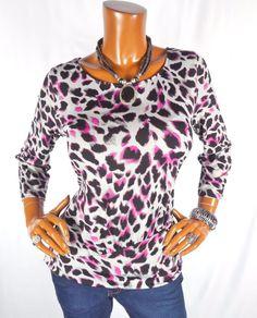 81de2308674 ANNE KLEIN Womens Top SEXY Animal Blouse Casual Shirt Stretch Pink Gray  Black  AnneKlein  Blouse  Casual