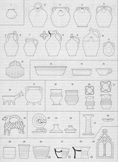 Form spectrum of medieval ceramics. German. Archaeologist's Drawing.