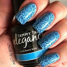 """The perfect vacation nails by @jen_nail_art using Tammy Taylor Bora Bora Blue from the """"Going Tropical"""" Gelegance Collection!  tammytaylornails.com"""