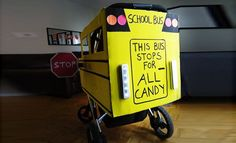School Bus: The wheels on this bus from Inhabitots go round and round all around the neighborhood. The cardboard box, which is painted in nontoxic paint, fits right over the stroller. Stroller Halloween Costumes, Stroller Costume, Diy Halloween Costumes For Kids, Baby Costumes, Halloween Ideas, Mouse Costume, Haunted Halloween, Woman Costumes, Toddler Halloween