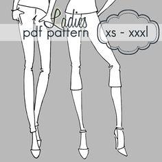 Ladies Basic Leggings - XS - XXXL - pdf sewing pattern