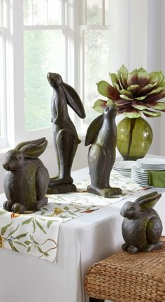 Sculpted Garden Bunnies are an excellent addition to your Spring decor - inside our out! Easter Bunny, Easter Eggs, Funny Bunnies, Garden Toys, Design Elements, Grandin Road, Sculpting, Easter Decor, Creations