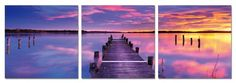 Majestic Sunset. Contemporary Art, Modern Wall Decor, 3 Panel Wood Mounted Giclee Canvas Print, Ready to Hang A1010 - Listing price: $169.00 Now: $69.99