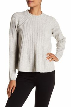 Ribbed Swing Wool Blend Sweater