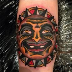 Sun Tattoo by Hugh Sheldon. For bookings and inquiries contact shop. #tattoo #tattoos #sun #suntattoo #traditional #london #londontattoo #shoreditch #eastlondon #bricklane #cheshirestreet #cloakanddaggerlondon