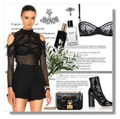 """- Black mental -"" by lolgenie ❤ liked on Polyvore featuring Alaïa, self-portrait, Valentino, STELLA McCARTNEY and Bobbi Brown Cosmetics"