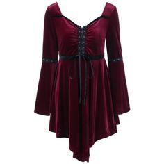Velvet Plus Size Asymmetrical Vintage Dress, WINE RED, XL in Plus Size Dresses | DressLily.com