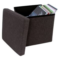 songmics linenlike storage ottoman cube folding footrest stool charcoal brown - Storage Ottoman Cube