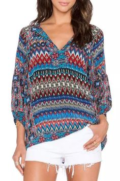 Love these Colors! Turquoise Blue and Wine Tribal Print V Neck 3/4 Sleeve Blouse #Turquoise #Blue #Ruby WIne #Tribal #Print #Blouse #Fashion