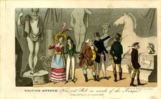 Six fashionable visitors inspecting antiquities at the British Museum; at left, an over-dressed, plain woman coyly holding up her fan while discussing a skimpily-clad statue with her male companion; at right, a young man pointing out a statue of a horse to an older gentleman, the head of the horse much resembling that of the horse of Selene (1816,0610.98), in front of which a frieze with a horse, probably also from the Parthenon; behind at centre, a prominent rear view of a nude statue…
