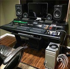 Recording Studio Furniture, Home Recording Studio Setup, Home Studio Setup, Studio Layout, Studio Gear, Audio Studio, Music Studio Room, Sound Studio, Editing Suite