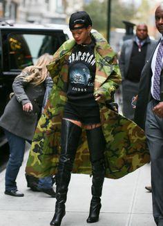Style Camo Rihanna Coat Rihanna. RiRi #Rihanna, #Riri, #pinsland, https://apps.facebook.com/yangutu
