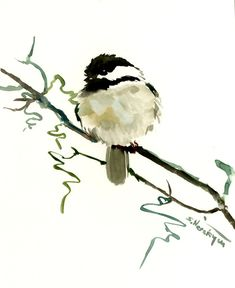 chickadee artwork, bird art watercolor painting, bird art, bird painting, original, watercolor, chickadee by ORIGINALONLY on Etsy