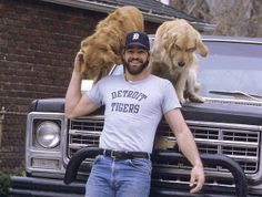 WOW <3......Detroit Tiger, Kirk Gibson with his two dogs!!!!! From 1984