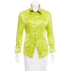 Pre-owned Roberto Cavalli Silk Pleated Blouse ($75) ❤ liked on Polyvore featuring tops, blouses, green, print blouse, green top, yellow blouse, roberto cavalli and patterned tops