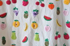 Embroidered fresh fruit cream linen dress
