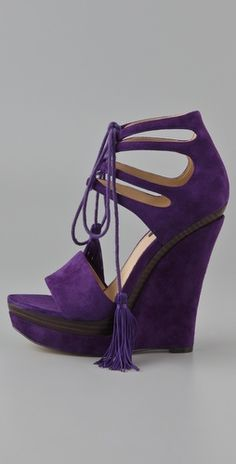 yes please! Rachel Zoe cut out purple suede wedge with just a peek-a-boo of stacked wood.