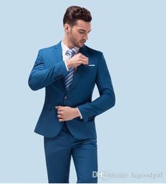 You will become such a outstanding man with custom made dark blue men suit, tailor made suit, bespoke light navy blue wedding suits for men, slim fit groom tuxedos for men offered by higoodgirl. Besides, DHgate.com also provide wedding attire for men wedding clothes for men and white suits.