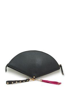 Tasseled Fan Studded Clutch BLACK