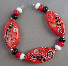 Fire doodles Lampwork bead set by Pixie Willow by pixiewillow, $55.00