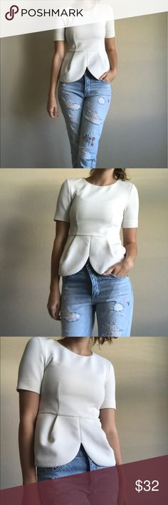 H&M white peplum top with scalloped finish Beautiful quilted peplum top perfect for work or presentations, make professionalism look easy in this top! Perfect condition. Fit runs small. H&M Tops Blouses
