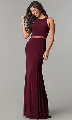 9a441962f83a Long Formal Dress with Sheer-Illusion Insets