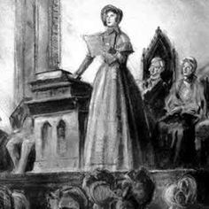 """Elizabeth Cady Stanton on a platform -- likely speaking to a """"promiscuous audience"""" (mixing men and women!) and possibly about to incite a riot."""