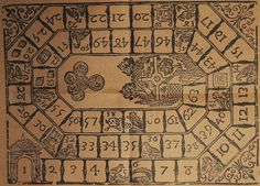 The Goose Game - this wooden version of the game was found in the Monestary of Valldemossa, in Mallorca. It has 63 boxes, which thereafter became a canonical number. Medieval Games, Medieval Life, Renaissance, Vintage Board Games, Old Games, Interesting History, Game Pieces, Table Games, Middle Ages