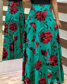 Shop Short Sleeve Floral Print Maxi Dress right now, get great deals at divaslily Casual Dresses, Fashion Dresses, Casual Outfits, Floral Print Maxi Dress, Basic Outfits, Look Thinner, Cute Skirts, Womens Fashion Online, Passion For Fashion