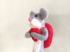 Mouse with red heart mouse rat figurine miniature by Felt4Soul