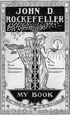 """Exlibris of John D Rockefeller - """"Let there be light - at my price per gallon"""""""