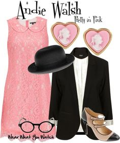 "Molly Ringwald as Andie Walsh in ""Pretty in Pink"" - For information on purchasing items from the set above please visit my Polyvore account."
